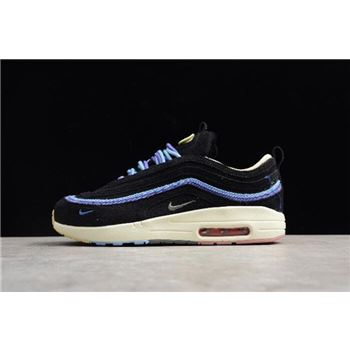 Men's and Women's Nike Air Max 1/97 VF SW Black/Blue AJ4219-045