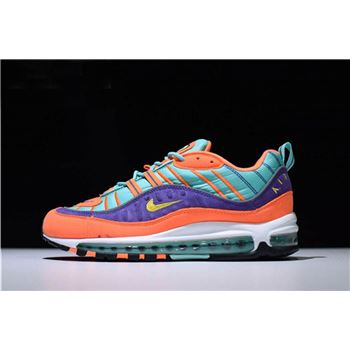Men's and Women's Nike Air Max 98 QS Cone/Tour Yellow-Hyper Grape 924462-800