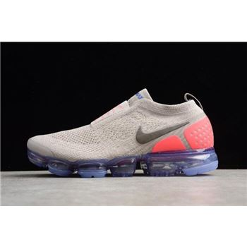 Mens and WMNS Nike Air VaporMax Flyknit Moc 2 Moon Particle/Solar Red-Indigo Burst AH7006-201