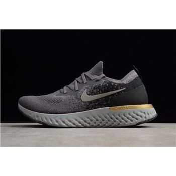 Nike Epic React Flyknit Grey/Black-Gold Running Shoes AQ0067-009