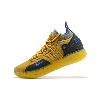 Kevin Durant's Nike KD 11 Yellow/Black-Blue Shoes Free Shipping