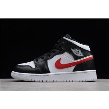 Grade School Air Jordan 1 Mid Multi Swoosh Black/White-University Red-Tour Yellow 554725-052
