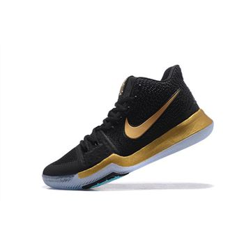 Newest Nike Kyrie 3 Black/Metallic Gold Men's Basketball Shoes