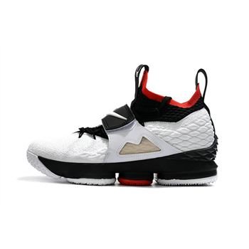 Men's Nike LeBron 15 Diamond Turf White Black Red Basketball Shoes AO9144-100