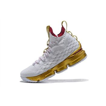 Men's Nike LeBron 15 White Gold Basketball Shoes Free Shipping