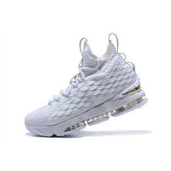 Nike LeBron 15 White/Metallic Gold Men's Basketball Shoes