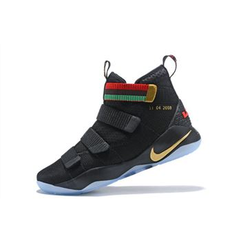 Nike LeBron Soldier 11 BHM Black Green Red Men's Basketball Shoes