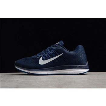Men's Nike Air Zoom Winflo 5 Midnight Navy/Silver Grey/Gym Blue Running Shoes AA7406-401
