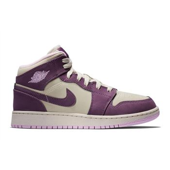 2018 Nike Air Jordan 1 Mid GS Pro Purple/Desert Sand 555112-500