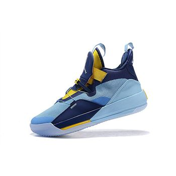 Air Jordan 33 XXXIII Mint Green/Navy Blue-Yellow
