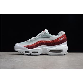 Men's Size Nike Air Max 95 Essential OG White/Wolf Grey-Pure Platinum-Team Red 749766-103