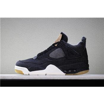 2018 Levi's x Air Jordan 4 Black Denim Men's Basketball Shoes AO2571-001