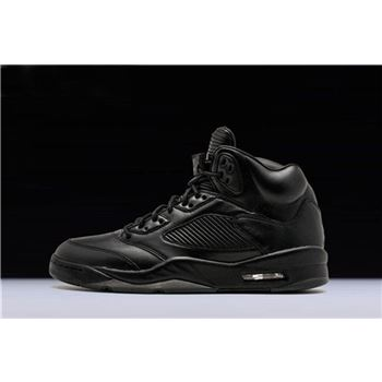 New Air Jordan 5 Premium Flight Jacket Black/Black/Black 881432-010