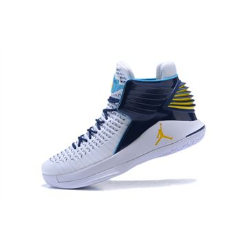 New Air Jordan 32 White/Navy-Gold Men's Basketball Shoes