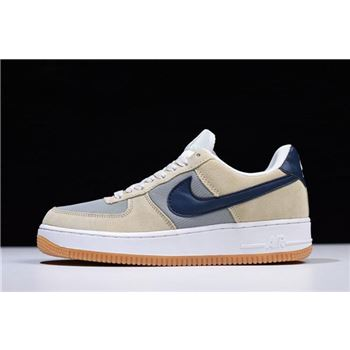 Men's Nike Air Force 1 Low Suede Mushroom/Light Grey-Navy Blue 315111-101