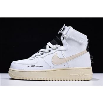 Nike Air Force 1 High White/Black-Beige Women's Size AJ7311-100